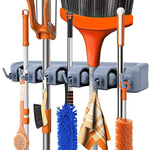 Organizador de escobas, rastrillo y herramientas con ganchos, organizador montado en la pared para cochera, clóset o cobertizo, herramientas para el hogar y el jardín-Ahorro de espacio, con 5 bastidores 6 Ganchos de utilidad