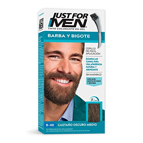 Just For Men Tinte Colorante en Gel para Barba y Bigote, Cubre las Canas, Color Castaño Oscuro Medio (B-40), 28.4 g