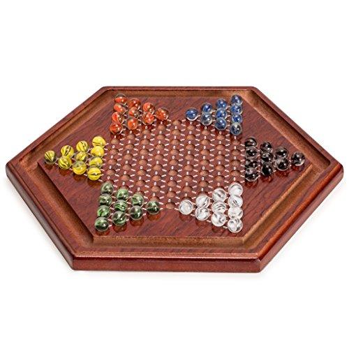 Yellow Mountain Imports Juego de Damas Chinas Halma de Madera con 60 Canicas de Vidrio Estilo pétalo de Colores (14 mm) - Juego de Estrategia clásico