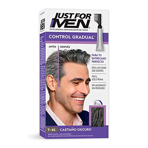 Just For Men Control Gradual Tinte Desvanecedor de Canas, Cubre Solo Algunas Canas, Color Castaño Oscuro (T-45), 40 g