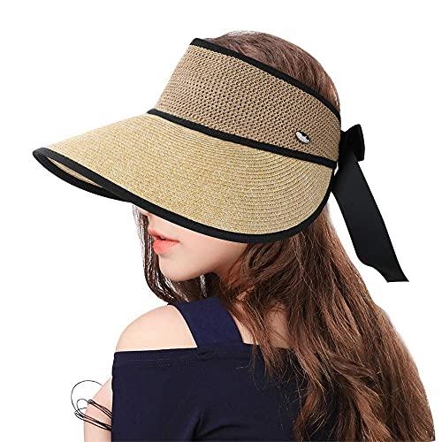 Sumolux Sombrero de Paja Gorra de Visera Vacía Protección UV de Verano Sombrero de Playa Plegable Verano ala Ancha