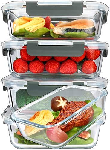 [5] recipientes de vidrio para preparación de comidas con tapas de cierre de presión de por vida, contenedores de alimentos de vidrio, recipiente hermético para almuerzo, microondas, horno, congelador y lavavajillas (4,5 tazas)