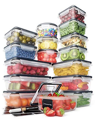Juego Recipientes Herméticos de Plástico Almacenamiento Alimentos – Tapas Cierre Fácil (Pack 16) – Organización Cocina y Alacena sin Fugas – Sin BPA – 16 Etiquetas y Marcador Pizarra – Chef's Path