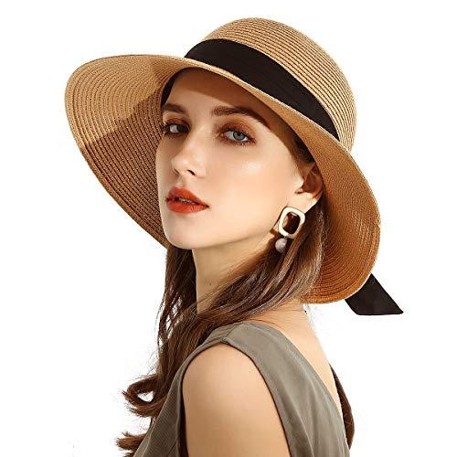 Somaler Sombreros de paja para mujer, de ala ancha, plegables, de playa, UV UPF 50+, sombrero de verano para verano, para mujer, Negro Bowknot-camel, Talla única