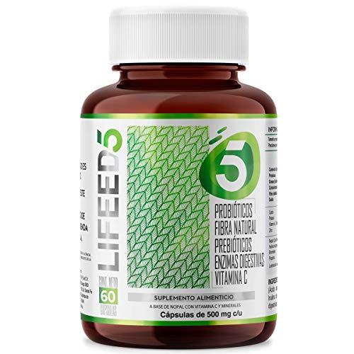 LIFEED Probioticos 50 Billones + Prebioticos, Enzimas Digestivas, Fibra y Vitamina C | LF5 Para 60 días | Sistema Digestivo e Inmune | PRE & PROBIOTIC para Mujer y Hombre | Life Probiotics - Lactobacilos Lactobacillus