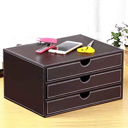 TYXL Soporte para Archivos Creativo Gabinete de Archivos de Escritorio de Cuero de 3 Capas Gabinete de Datos de Papel A4 Gabinete de Almacenamiento de cajones Diseño práctico de Madera (Color