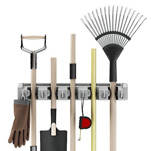 Stalwart Soporte para pala, rastrillo y herramientas con ganchos, organizador montado en la pared para cochera, clóset o cobertizo, herramientas para el hogar y el jardín-Ahorro de espacio, 1 unidad, Normal, Gris