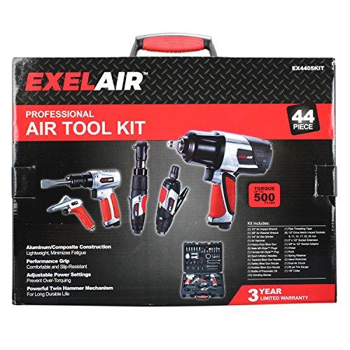 EXELAIR by Milton EX4405KIT (kit de accesorios de herramientas de aire profesional de 44 piezas) – Llave de impacto, trinquete de aire, amoladora, pistola de soplado, martillo de aire, portabrocas de aire doble, medidor de neumáticos y accesorios
