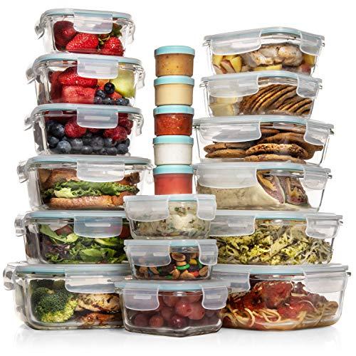 Razab - Juego de 35 recipientes de vidrio para almacenamiento de alimentos con tapa, recipientes herméticos de vidrio Bento, sin bispenol A (BPA), aprobado por la FDA, 100 % a prueba de fugas, 15 tapas, 15 vasos y 5 recipientes de plástico
