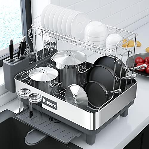 Kitsure Escurridor de platos, 2 capas de acero inoxidable y escurridor con drenaje, colador de platos para encimera de cocina con diseño multiusos, estante grande para secar platos con fácil instalación