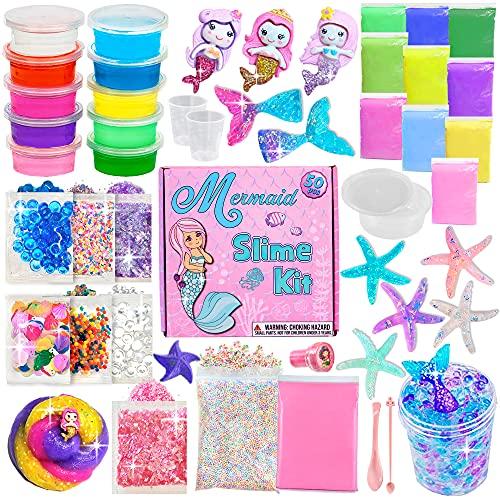 Laevo Surprise Unicorn Slime Kit - Kit de bricolaje todo incluido con 5 secretos, incluye pegamento, activador y agregados mágicos (sirena)