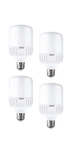 Foco LED AKSI de Alta Potencia EQUIVALENTE A 135W CONSUME 20W - Tipo T - Luz blanca E27 - Pack de 4 focos vatios
