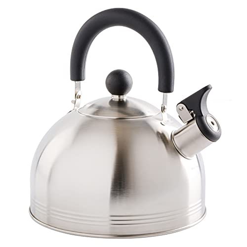 Mr. Coffee 91407.02 Flintshire Tetera silbante de acero inoxidable, 1.65 L, Plateado, 1.4 litros, 1