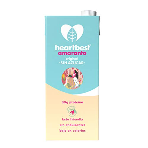 Heartbest Leche de Amaranto Sin Azúcar 1L - 6pack, Amaranto Sin Azúcar, 6 litros