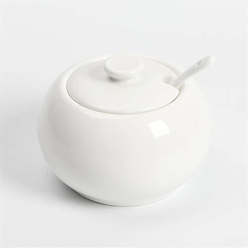 Azucarero de porcelana ONTUBE de 14 oz con tapa y cuchara, color blanco