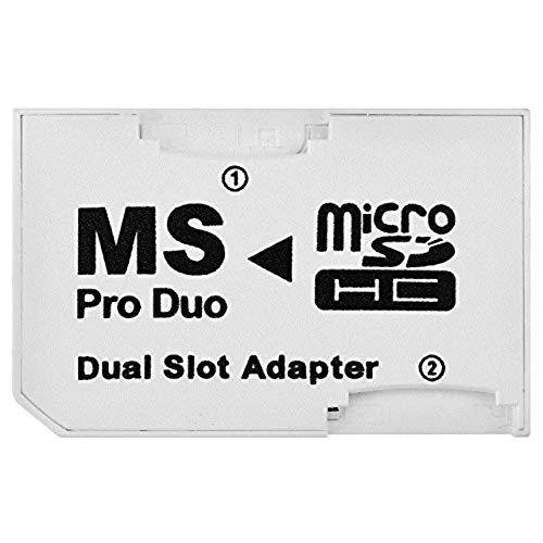 SANOXY Dual MicroSD a MS PRO Duo Adaptador (negro) para Sony PSP, convierte dos tarjetas MicroSD o MicroSDHC en una tarjeta Memory Stick Pro Duo (empaquetado a granel)