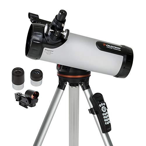 Celestron - Telescopio Newtoniano Computarizado 114LCM - Telescopios para Principiantes - 2 Oculares - Trípode de Altura Completa - Montura Altazimut Motorizado - Reflector Newtoniano Grande de 114 mm