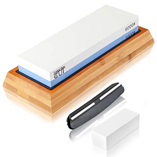 Kit de piedra de afilar cuchillos, kit con piedra de doble lado grano 1000/6000 para afilado y rectificado, base antiderrapante y guía de ángulo
