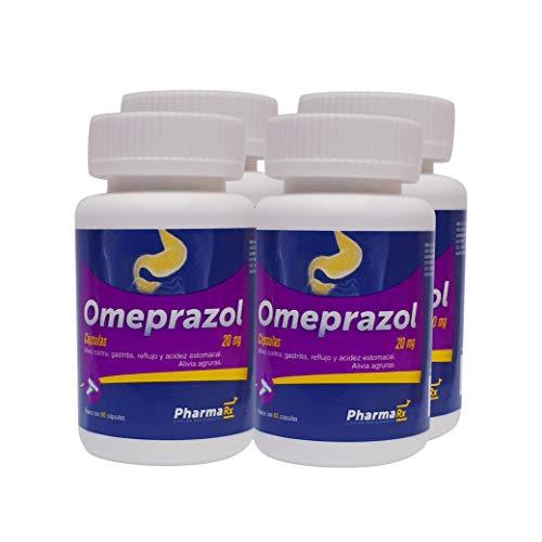 Rx Omeprazol, 20mg 4 frascos con 60 cápsulas cada frasco. Para el alivio de Agruras/Gastritis/Acidez estomacal/Reflujo.