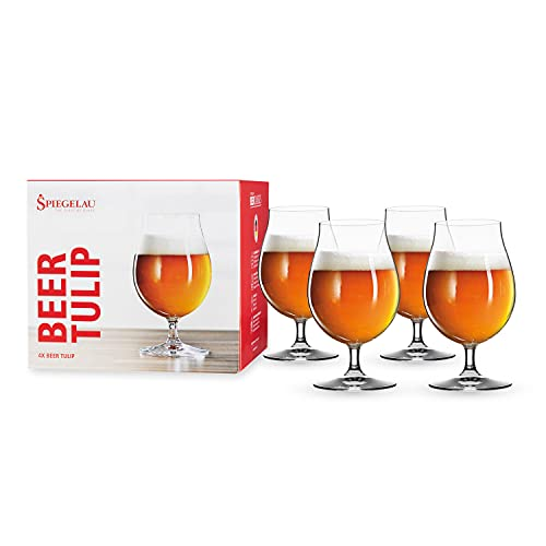 Spiegelau Classics - Vasos de cerveza, Tulipán, Transparente, Paquete de 4, 1