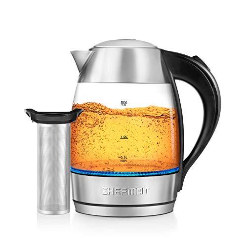 Chefman Fast W/luces LED Auto Shutoff & Hervir Seco Protección Inalámbrica, Sin BPA, Extraíble, 1,8 litros, Hervir rápido + infusor de té