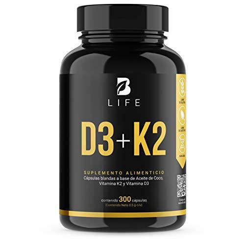 B Life Vitamina D3 400 UI + K2 para mayor Absorción y Efectividad, Dosis Recomendada y Aprobada por las autoridades - 300 Softgels