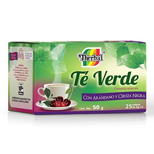 Therbal, Té Verde con Arandano y Cereza Negra 25 sobres, 50 gramos.