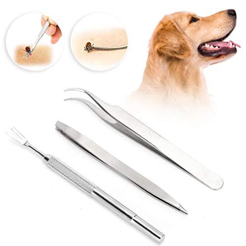 Herramienta de desparasitación de mascotas, herramienta de eliminación de garrapatas de mascotas, clip de eliminación de garrapatas, 3 piezas de herramienta de desparasitación de mascotas de acero ino
