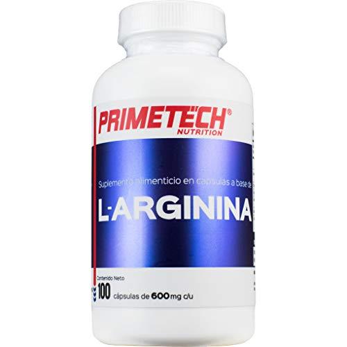 L-Arginina Primetech Nutrition 100 cápsulas con 500 mg de arginina cada una Permiso cofepris 193300CO361466 suplemento alimenticio