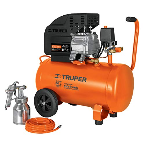 Truper COMP-KIT50, Kit compresor 50 L, 3-1/2 HP, manguera de PVC y pistola