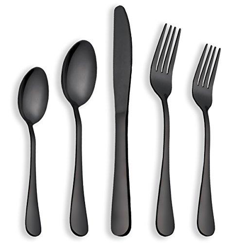 Berglander Cubiertos negros de acero inoxidable con revestimiento de titanio servicio de 20 piezas para 4, elija el pedido del vendedor original Berglander (negro brillante)