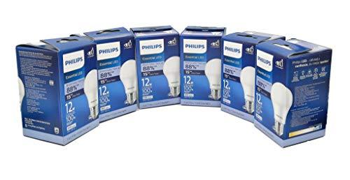Philips Foco Led Lampara Ahorrador Consume 12w ilumina 100w Paquete con 6 Piezas Luz Fria Blanca Interior Exterior Casa Jardin Patio Terraza