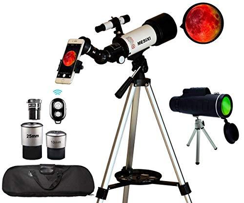 Telescopio astronómico MESIXI + telescopio de viaje monocular Apertura de 70 mm 400 mm Telescopios de refractor astronómico de montaje AZ para niños Adultos principiantes: bolsa portátil, adaptador para teléfono inteligente, control remoto de cámara