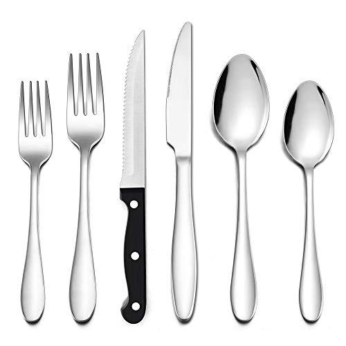 LIANYU - Juego de cubiertos de 48 piezas con cuchillos para carne, cubiertos de acero inoxidable para 8, utensilios de comer, vajilla incluye tenedores, cuchillos, cucharas, apto para lavavajillas