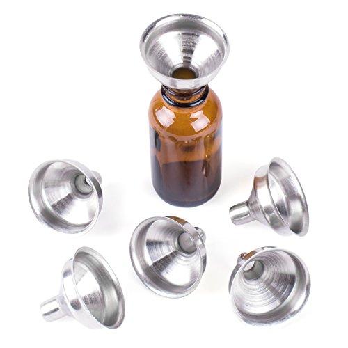 Super Z Outlet - Embudos de acero inoxidable para botellas en miniatura, aceites esenciales, bálsamos de labios, líquidos de especias de cocina, rellenos de maquillaje caseros (6 unidades)