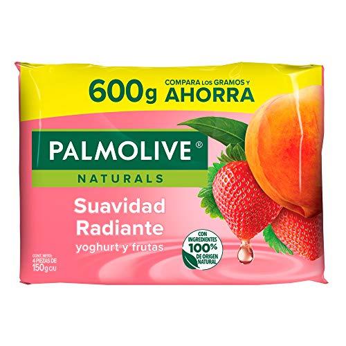 Palmolive Naturals Jabón de Tocador en barra Aroma Yoghurt y Frutas, Fabricado responsablemente, con humectante natural, Fragancia con ingredientes naturales, Piel suave y radiante, 150 g, 4 piezas