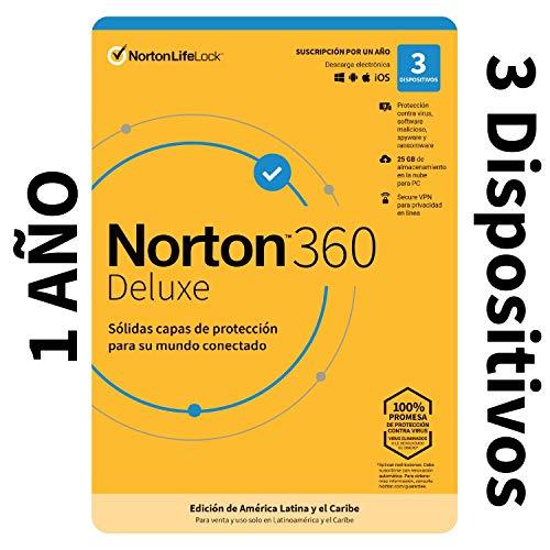 Norton 360 Deluxe - Software Antivirus para 3 Dispositivos con VPN, Copia de seguridad de 25GB para PC, Control Parental [Windows, MacOS, Android, iOS] [Edición de América Latina y Caribe]