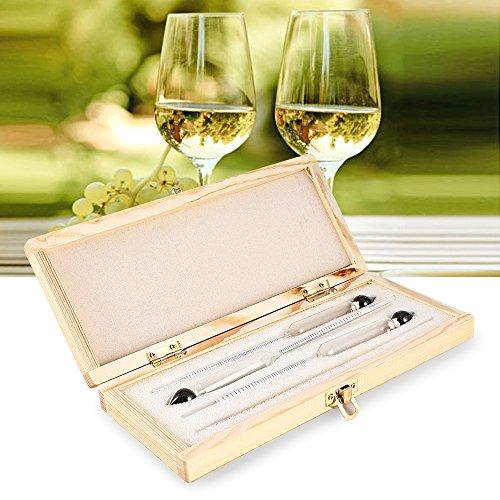 Mudent Professional Densímetro Alcoholímetro - 3pcs Densímetro Alcoholímetro Set 0 a 100% Alcohol Prueba de Medidor + Termómetro para Whisky de Alcohol de Vino