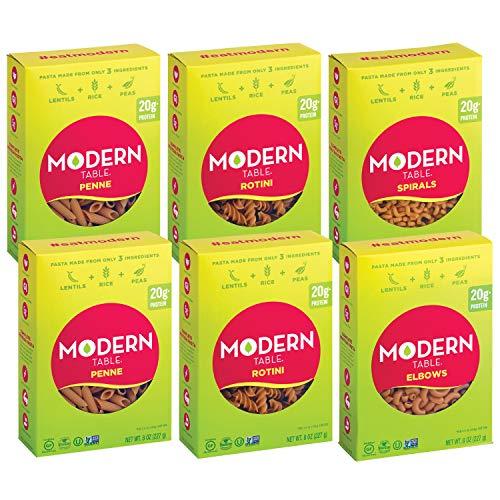 Modern Table Pasta completa de lentejas de proteína, paquete variado, contiene (2) Rotini, (2) Penne, (1) codos, (1) espirales, 8 oz, 6 unidades, sin gluten, sin conservantes artificiales