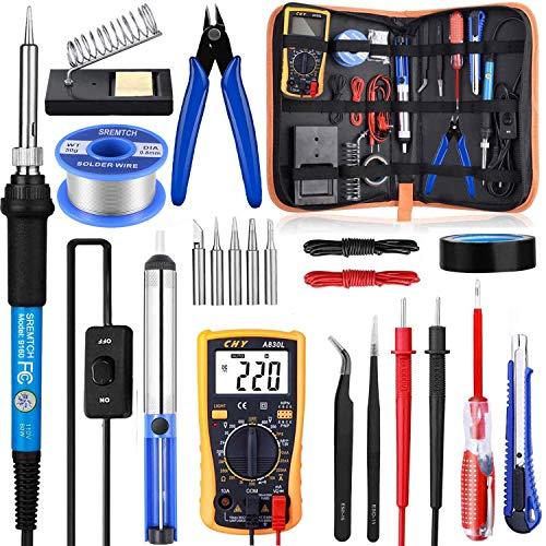 Kit de soldador con interruptor de encendido/apagado, Rarlight 60 W 110 V herramienta de soldadura de temperatura ajustable con multímetro digital, puntas de soldadura, bomba de desoldadura, alambre de soldadura, pinzas, soporte, cortador pelacables (azul).