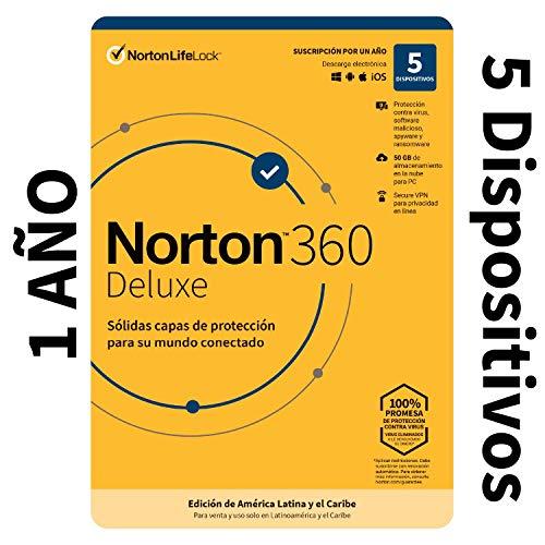 Norton 360 Deluxe - Software Antivirus para 5 Dispositivos con VPN, Copia de Seguridad de 50GB para PC, Control Parental [Windows, MacOS, Android, iOS] [Edición de América Latina y Caribe]