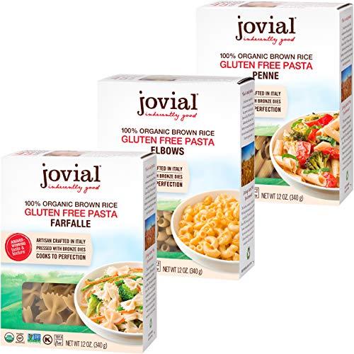 Jovial Pasta Farfalle | Pasta de codos Jovial | Pasta Jovial Penne Rigate | Pasta de arroz integral | Sin gluten | Sin OMG | Bajo carbohidratos | Certificado USDA orgánico | Hecho en Italia | 12 onzas cada uno (paquete de 3)