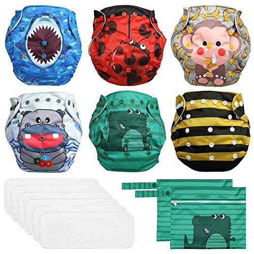 Lictin Pañales Lavables de Tela- 6 Pcs Pañales Lavables de para Bebé, Pañales Ajustable y Reutilizable para Bebés con 2 Bolsas de Almacenamiento(vistoso)