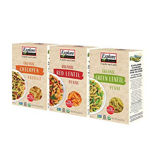 Explore Cuisine Paquete variado de pasta orgánica – Fusilli de garbanzo, penne de lentejas verdes, penne de lentejas rojas – 1 caja cada una, 8 onzas – pasta alta en proteínas, sin gluten – 12 porciones en total