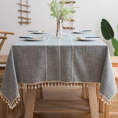 Pahajim -Lino Mantel Rectangular Peso Pesado Mantel de la Mesa Mantelería de algodón y Lino a Prueba de Polvo para la Partido Cocina Dinning