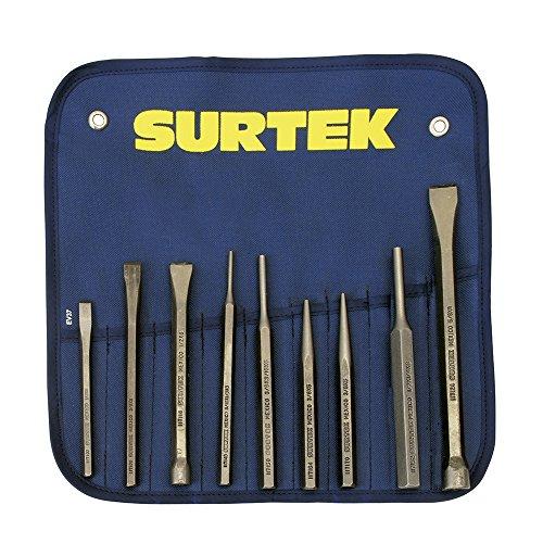 Surtek 117194 Juego Profesional Combinado de Cinceles, Puntos y Botadores, 9 Piezas