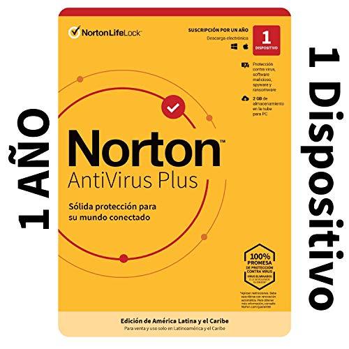 Norton Antivirus Plus - Software Antivirus para 1 Dispositivo Compatible con Windows y MacOS con Copia de Seguridad de 2GB para PC [Windows y MacOS] [Edición de América Latina]
