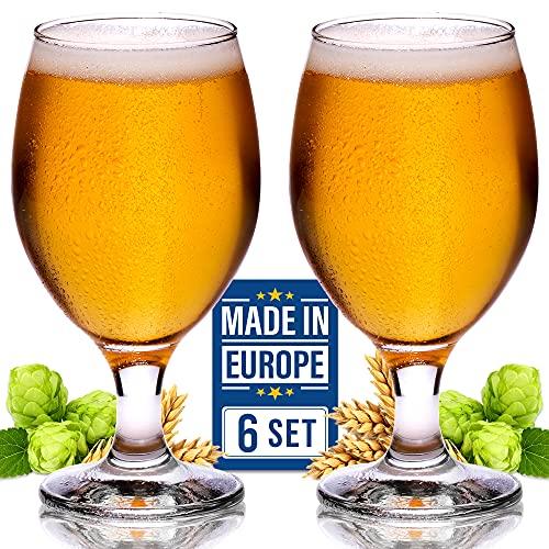 Juego de 6 vasos de cerveza artesanales, estilo belga, diseño de tulipanes clásicos, IPA de degustación de cerveza, 13 1/2 onzas