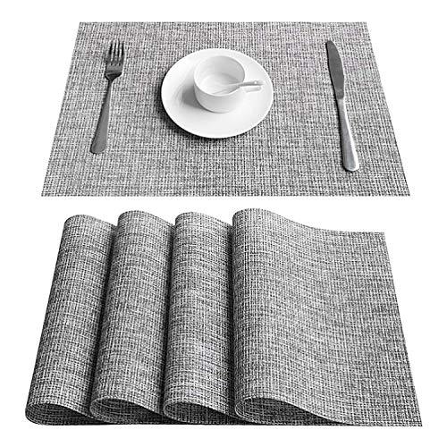 TYC Manteles Individuales, 4 Piezas Lavables manteles de Mesa Individuales de PVC para el hogar, Restaurante, Cocina, Hotel, cafetería