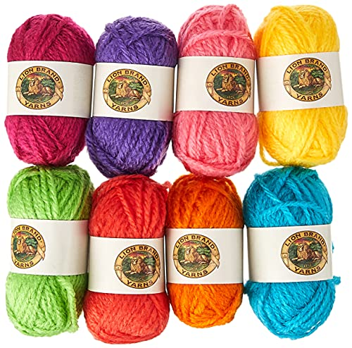 Lion Brand Bonbons Ovillo de Lana, Brights, 8 x 28 yd/26 m, 1